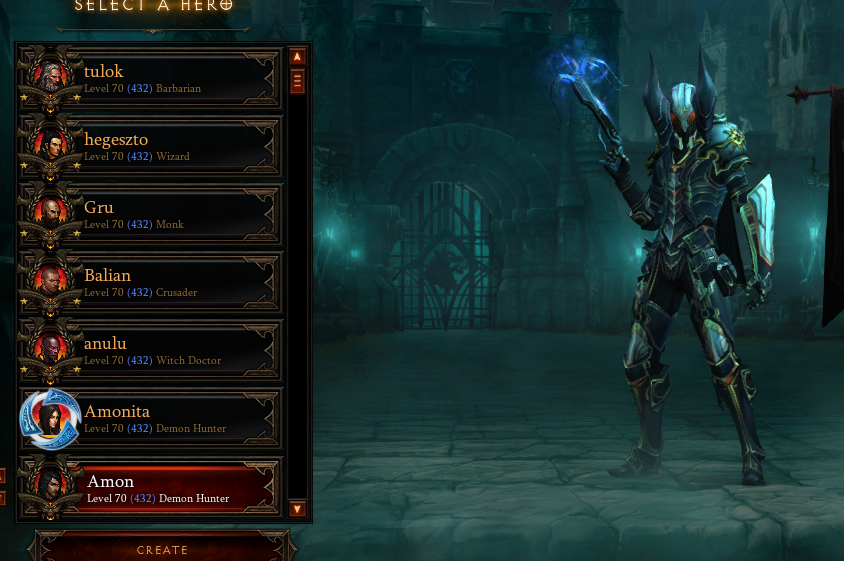 Diablo 3 PC EU-Diablo 3 ROS (8 Heroes)Level 70,Paragon 432/